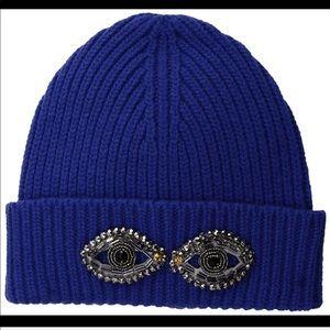Royal Blue Wool Blend Beanie w/ Embellished eyes